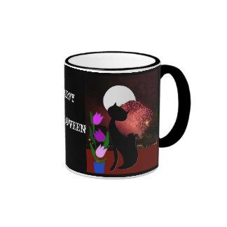 Halloween moon cat mug