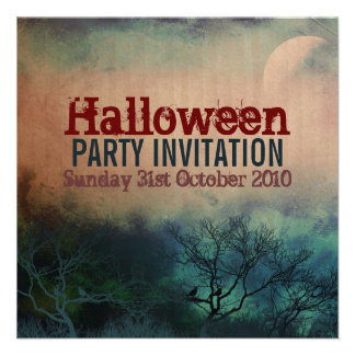 Halloween Moon Grunge Invitation