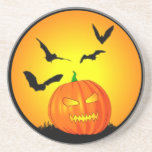 Halloween Moon Jack-O-Lantern Beverage Coasters
