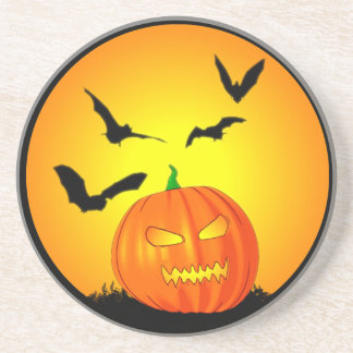 Halloween Moon Jack-O-Lantern Beverage Coasters