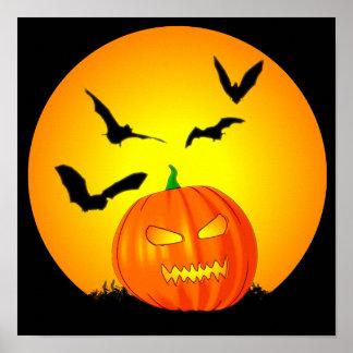 Halloween Moon Jack-O-Lantern Poster