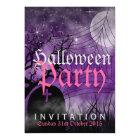 Halloween Moon & Spider Web Purple Invitation
