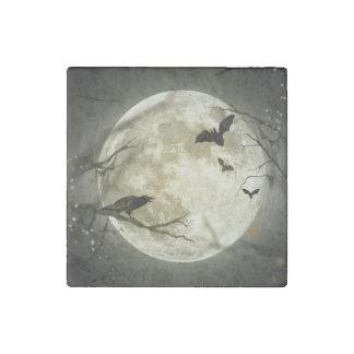 Halloween Moon Spooky Crows Stone Magnet