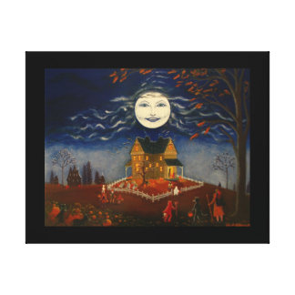 Halloween Moon Trick or Treat Devil Black Cat Canvas Print