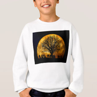 Halloween moon - zombie tree - moon tree sweatshirt
