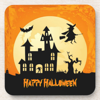 Halloween Moonlight Haunted House in Graveyard Beverage Coaster