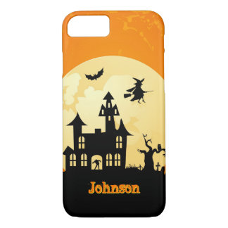 Halloween Moonlight Haunted House in Graveyard iPhone 7 Case