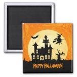 Halloween Moonlight Haunted House in Graveyard Fridge Magnets