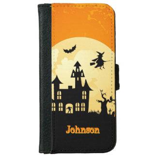 Halloween Moonlight Haunted House in Graveyard iPhone 6 Wallet Case