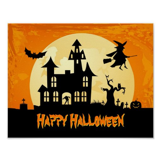 Halloween Moonlight Scary Haunted House Graveyard Poster