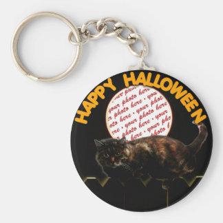 Halloween Moonlit Cat Photo Frame Basic Round Button Key Ring