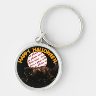 Halloween Moonlit Cat Photo Frame Silver-Colored Round Key Ring