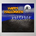 Halloween Moonlit Party Scene Print