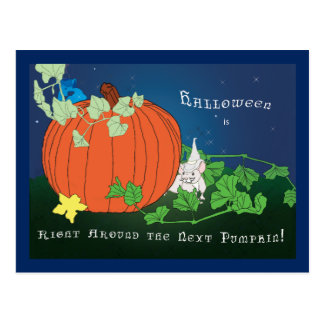 Halloween Mouse and Pumpkin Postcard