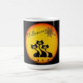 Halloween Mug/Moon, Black Cats, Spiders and Web Basic White Mug