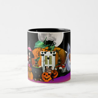 Halloween Mug With Witch Ghost Cat Puppy
