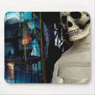 Halloween Mummy and Spooky House Mouse Pad
