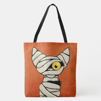 Halloween Mummy Cat Tote Bag