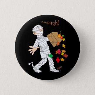 Halloween mummy  costume with candy bag. 6 cm round badge