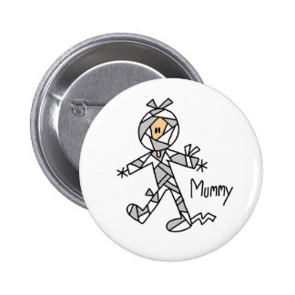 Halloween Mummy Stick Figure Button