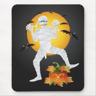 Halloween Mummy with Carved Pumpkin Mousepad
