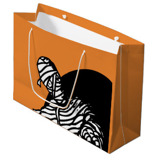 Halloween Mummy With Orange Background Large Gift Bag