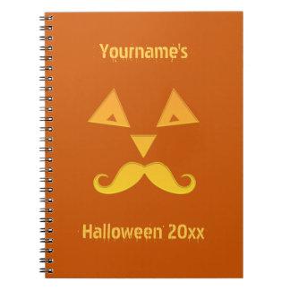 Halloween Mustache Pumpkin notebook