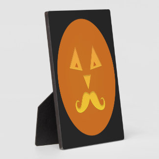 Halloween Mustache Pumpkin plaque