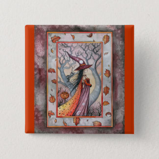 Halloween Mystic Witch by Molly Harrison 15 Cm Square Badge