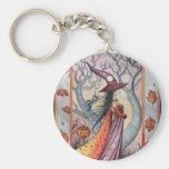 Halloween Mystic Witch by Molly Harrison Basic Round Button Key Ring