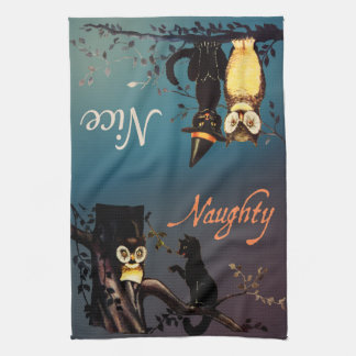 Halloween Naughty or Nice Towel - Cat and Owl
