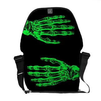 Halloween neon green zombie hands courier bag