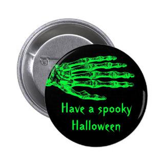 Halloween neon green zombie skeleton hand pinback buttons