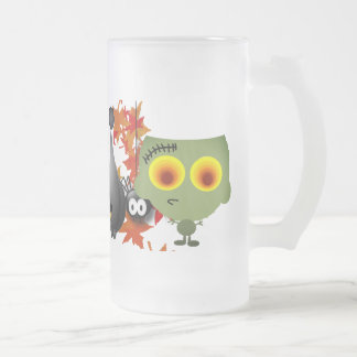 Halloween night frosted glass beer mug