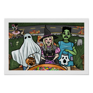 Halloween Night Kids Trick or Treating Ghost Candy Poster