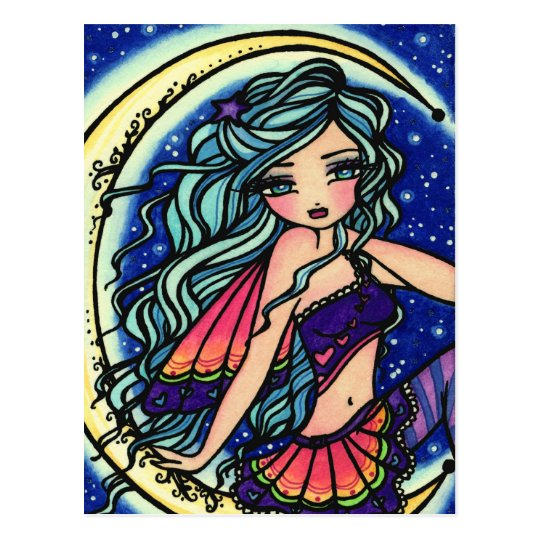 Halloween Night Moon Star Fairy Fantasy Art Girl