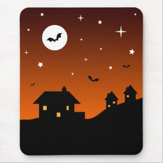 Halloween Night Sky Silhouette Mouse Mat