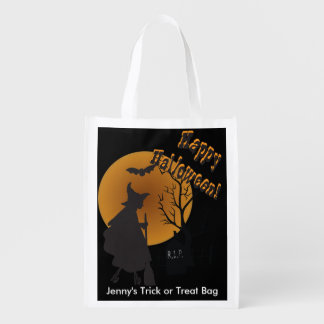 Halloween Night Witch Illustration Market Totes