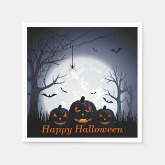 Halloween Night with Pumpkin & flying Bats Disposable Serviettes