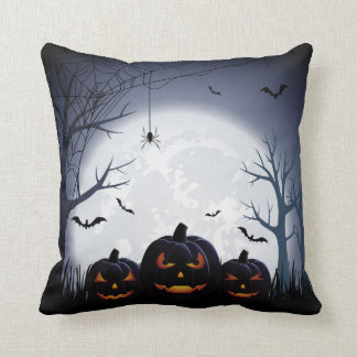Halloween Night with Pumpkin & flying Bats Throw Pillow