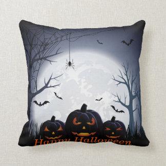 Halloween Night with Pumpkin, Spider & flying Bats Cushion