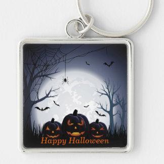 Halloween Night with Pumpkin, Spider & flying Bats Key Ring