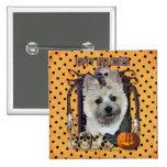 Halloween Nightmare - Cairn Terrier - Teddy Bear Pinback Buttons