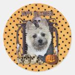 Halloween Nightmare - Cairn Terrier - Teddy Bear Round Stickers
