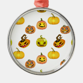Halloween of free style bites pumpkins Silver-Colored round decoration