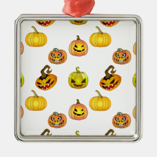 Halloween of free style bites pumpkins Silver-Colored square decoration