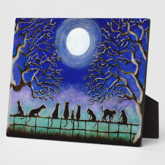 Halloween or everyday black cats easel backed art plaque