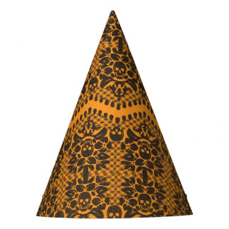 Halloween Orange and Black Skull Lace Party Hat