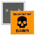 Halloween orange and black skull name tag pinback button