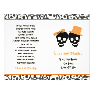 Halloween orange and black skull wedding program flyer